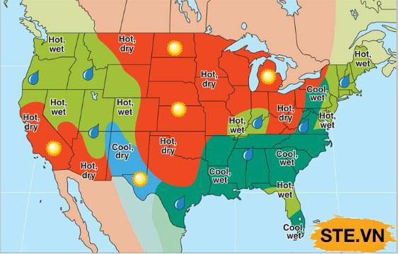 Kí tự thời tiết mặt trời được sử dụng trong bản đồ thời tiết