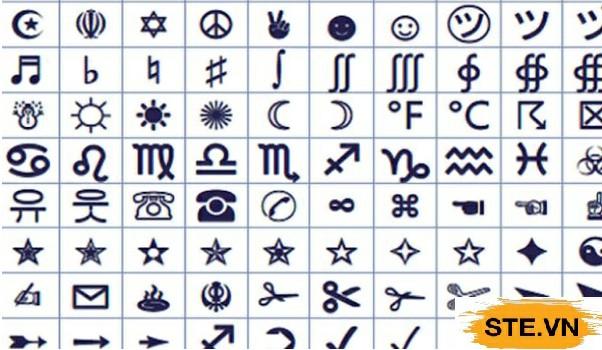 Ký tự đặc biệt ngôi sao, dấu sao, hình hoa thị